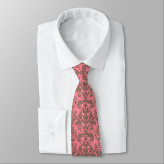 Vintage, pale violet red & sand brown Damask Tie
