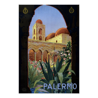 Vintage Palermo Sicily Italy Travel Poster