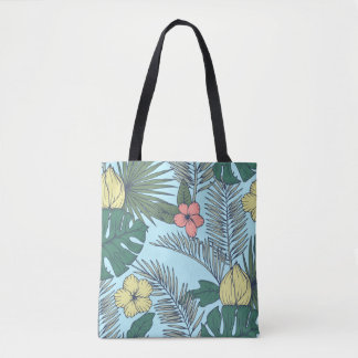 Vintage Palm Leaves and Tropical Flowers Tote Bag