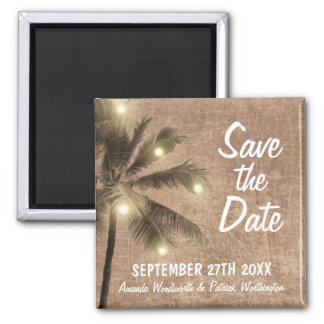 Vintage Palm Tree Beach Save the Date Magnets