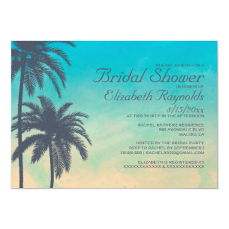 Vintage Palm Tree Bridal Shower Invitations