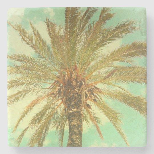 Vintage Palm Tree Stone Beverage Coaster