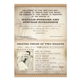 vintage palms wedding passport invitations