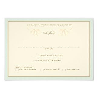 "Vintage Palms Wedding RSVP Blue & Orange 3.5"" X 5"" Invitation Card"