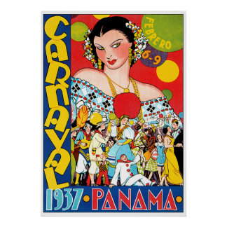 Vintage Panama Travel Poster of Carnaval 1937