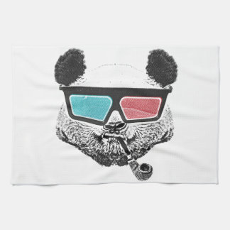 Vintage panda 3-D glasses Kitchen Towel