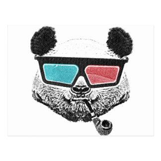 Vintage panda 3-D glasses Postcard