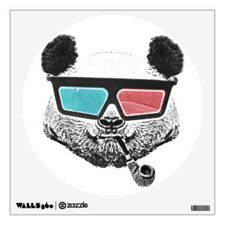 Vintage panda 3-D glasses Wall Sticker