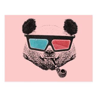 Vintage panda 3D glasses Postcard