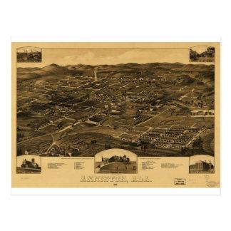 Vintage Panoramic Map Of Anniston Alabama 1887 Postcard
