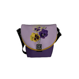 Vintage Pansies Flower Graphic Courier Bags
