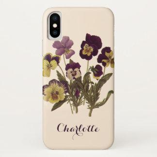 Vintage Pansies in Bloom, Floral Garden Flowers iPhone X Case