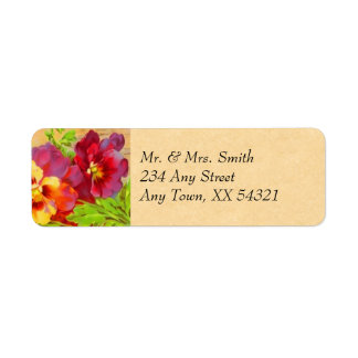 Vintage Pansies Return Address Label