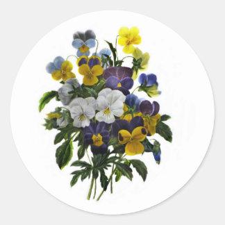 Vintage Pansy Botanical Print Classic Round Sticker