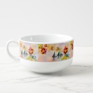 Vintage pansy flower feminine girls soup bowl with handle