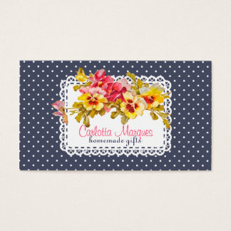 Vintage Pansy Flowers & Doily Homemade Business Card