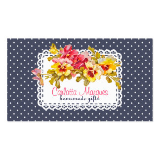 Vintage Pansy Flowers & Doily Homemade Pack Of Standard Business Cards