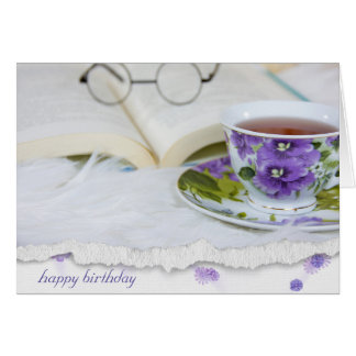 vintage pansy tea cup on fur with book card