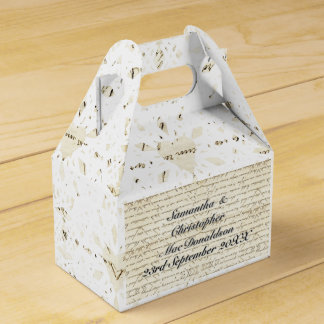 Vintage paper and white lace heart country wedding favor boxes