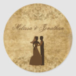 Vintage paper Bride Groom Wedding Once upon a time Round Sticker