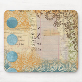 vintage paper collage stamped blue dots mouse pads