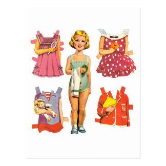 Vintage Paper Dolls Postcard