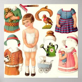 Vintage Paper Dolls Poster