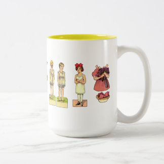 Vintage Paper Dolls Two-Tone Coffee Mug