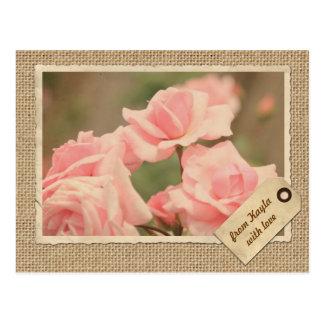 Vintage Paper Frame Travel Tag Pink Rose Burlap Postcard