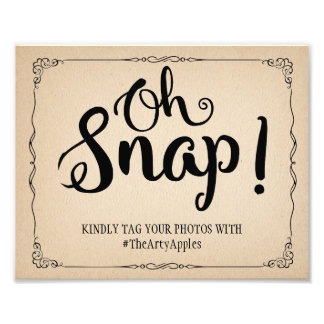 vintage paper oh snap wedding sign hashtag photographic print