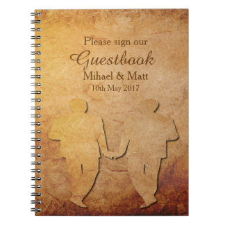 Vintage Paper Texture Guestbook for a Gay Wedding Spiral Notebook