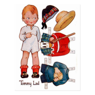 Vintage Paperdoll Little Boy Tommy Postcard