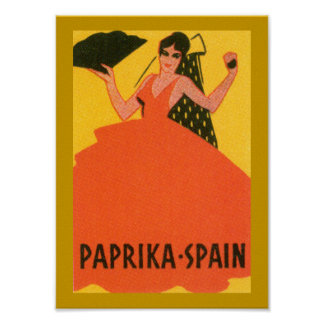 "Vintage ""Paprika Spain"" Label Poster"
