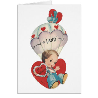 Vintage Parachute Valentine Card