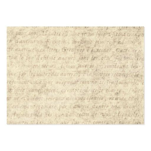 Vintage Parchment Antique Text Template Blank Business Cards