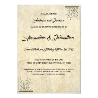 Vintage Parchment Gold Faux Finish Wedding Invites