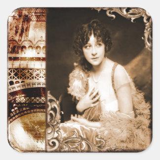 Vintage Paris 1920's Flapper Lady Square Sticker