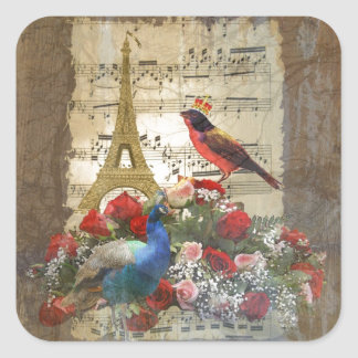 Vintage Paris & birds music sheet collage Square Sticker