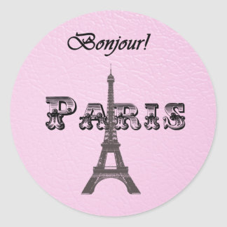 Vintage  Paris Bonjour Eiffel Tower Classic Round Sticker