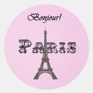 Vintage  Paris Bonjour Eiffel Tower Round Sticker