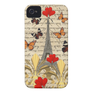Vintage Paris & butterflies iPhone 4 Case