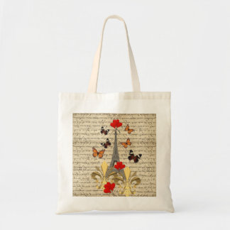 Vintage Paris & butterflies Tote Bag