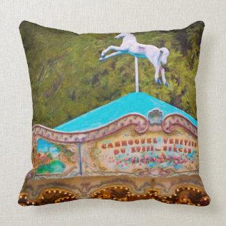 Vintage Paris Carousel Throw Pillow
