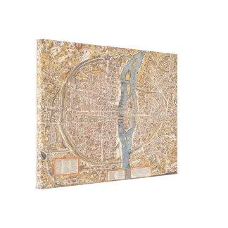 Vintage Paris city map, 1550 Canvas Print