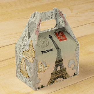 Vintage Paris Collage Eiffel Tower Personalized Favor Box