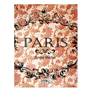 Vintage Paris Damask Postcard