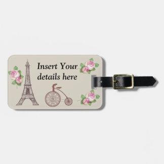 Vintage Paris design. Luggage Tag
