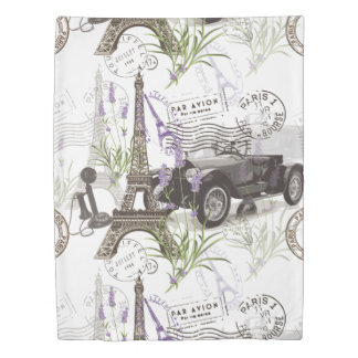 Vintage Paris Duvet Cover