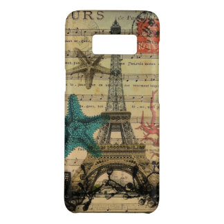 vintage paris eiffel tower beach seashell Case-Mate samsung galaxy s8 case