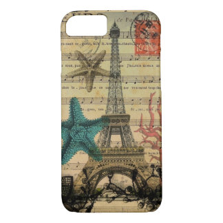 vintage paris eiffel tower beach seashell iPhone 8/7 case